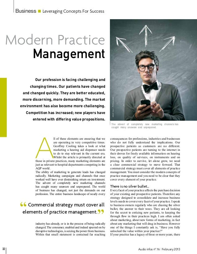 Business       Leveraging Concepts For Success Modern Practice            Management             Our profession is facing ...