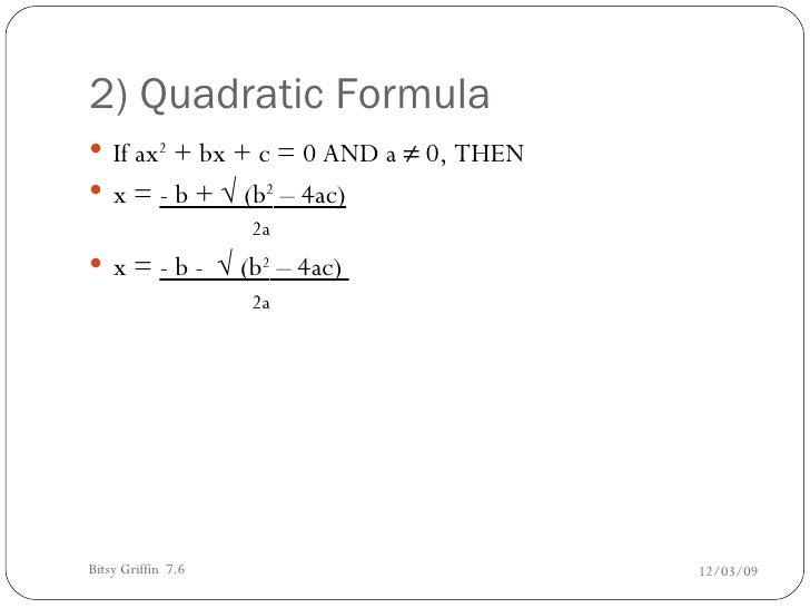 7 6 using the quadratic formula