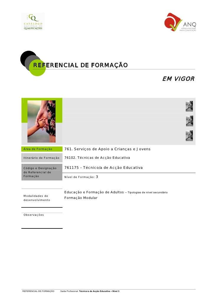 REFERENCIAL DE FORMAÇÃO                                                                                        EM VIGORÁre...