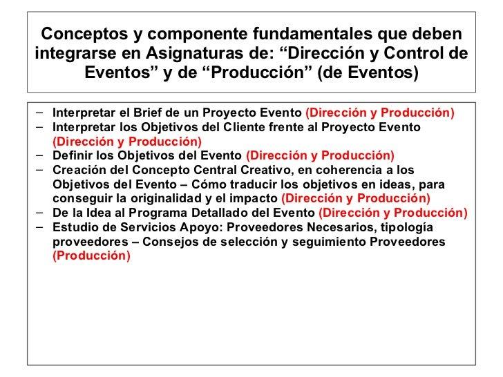 """Conceptos y componente fundamentales que deben integrarse en Asignaturas de: """"Dirección y Control de Eventos"""" y de """"Produc..."""