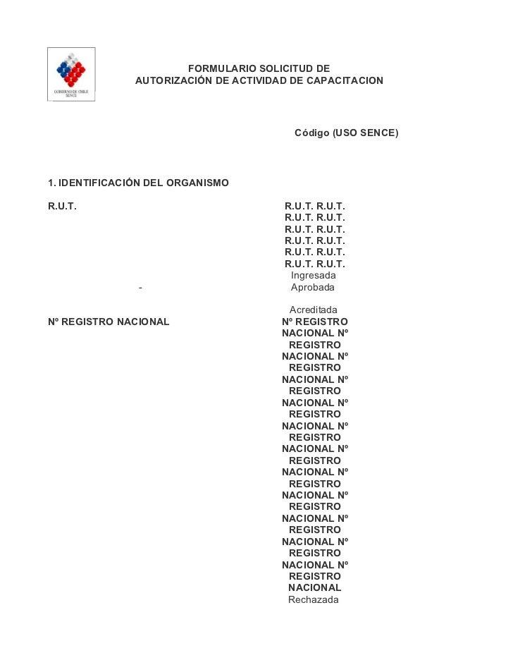 FORMULARIO SOLICITUD DE              AUTORIZACIÓN DE ACTIVIDAD DE CAPACITACION                                        Códi...