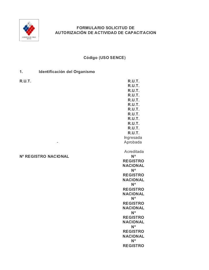FORMULARIO SOLICITUD DE                 AUTORIZACIÓN DE ACTIVIDAD DE CAPACITACION                               Código (US...
