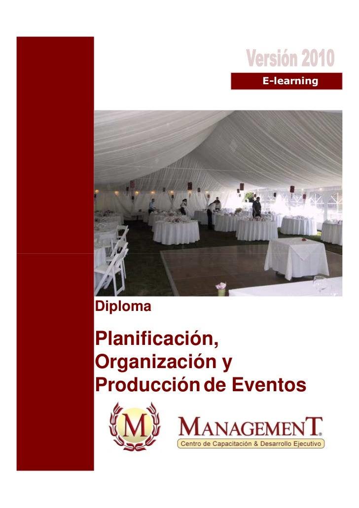 E-learningDiplomaPlanificación,Organización yProducción de Eventos