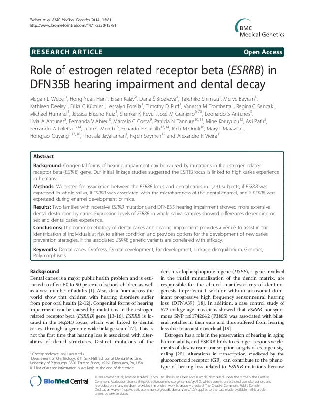 RESEARCH ARTICLE Open Access Role of estrogen related receptor beta (ESRRB) in DFN35B hearing impairment and dental decay ...