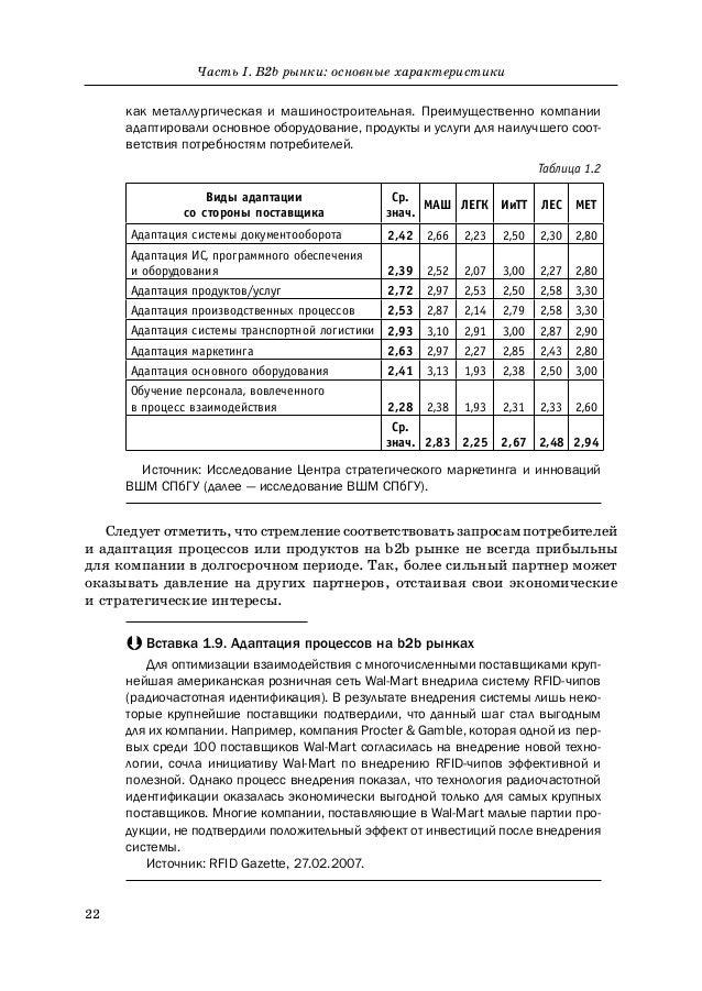 22 Часть I. B2b рынки: основные характеристики как металлургическая и машиностроительная. Преимущественно компании адаптир...