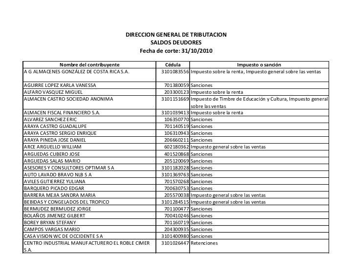 DIRECCION GENERAL DE TRIBUTACION                                                SALDOS DEUDORES                           ...