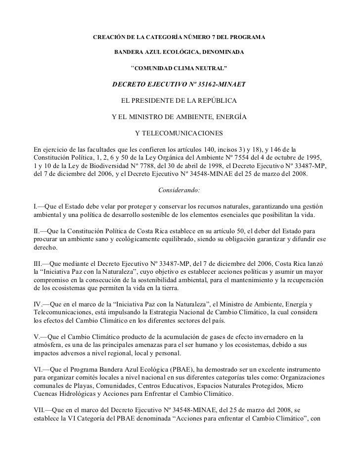 CREACIÓN DE LA CATEGORÍA NÚMERO 7 DEL PROGRAMA                            BANDERA AZUL ECOLÓGICA, DENOMINADA              ...