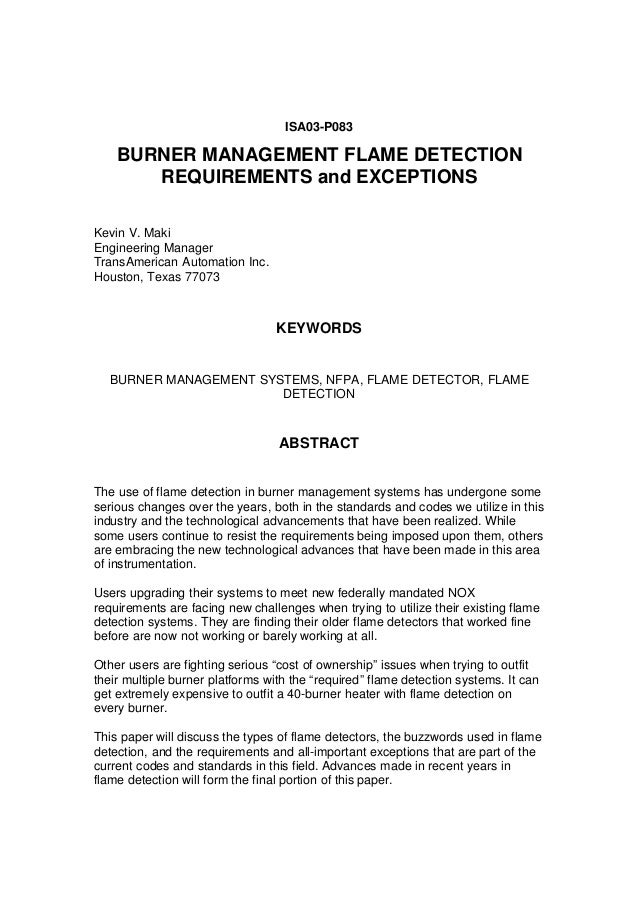 Burner Management Flame Detection Requirements and Exceptions