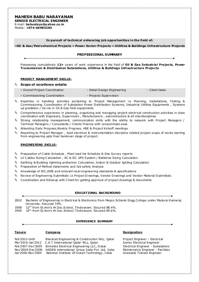 Sample Resume For Electrical Engineer In Construction Field ...