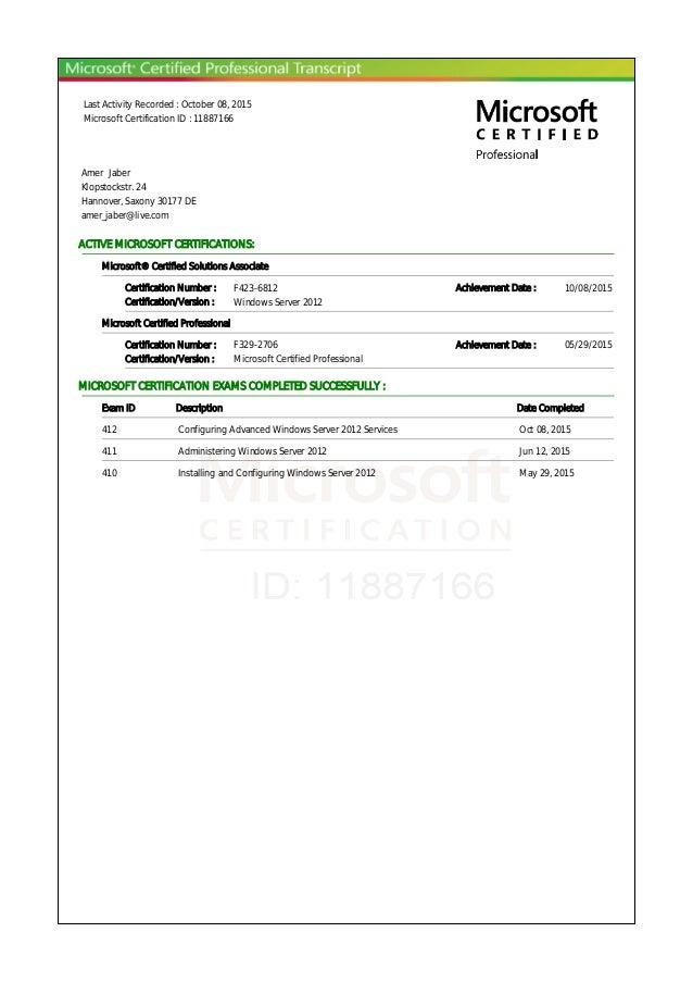 Microsoft Certifications Transcriptpdf