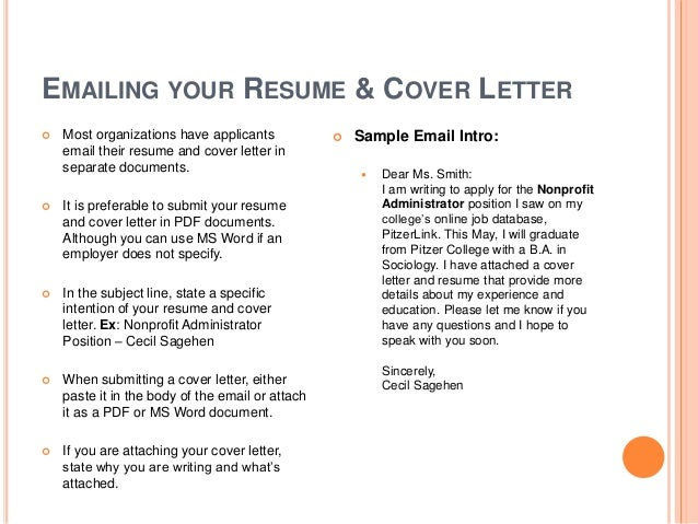 Email Resume Cover Letter  Email With Resume