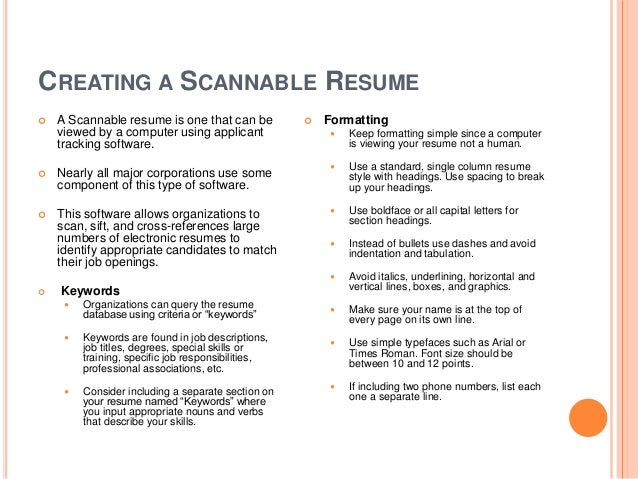CREATING A SCANNABLE RESUME ...