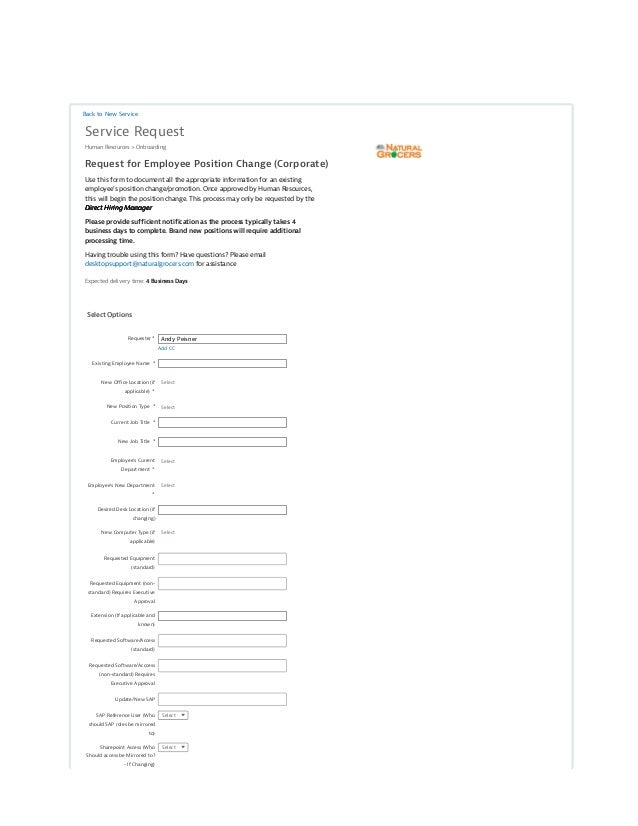 Request For Employee Position Change (Corporate) Form View