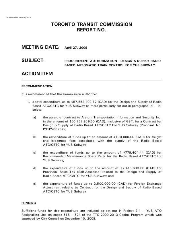 TTC Procurement Authorization for ATC-CBTC