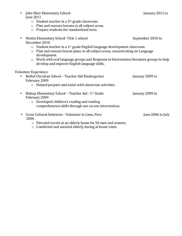 Elementary Teacher Resume Sample   Page