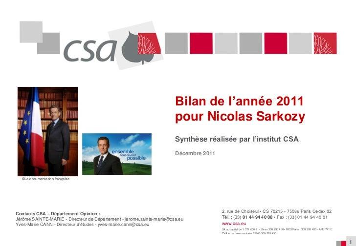 Bilan de l'année 2011                                                                       pour Nicolas Sarkozy          ...