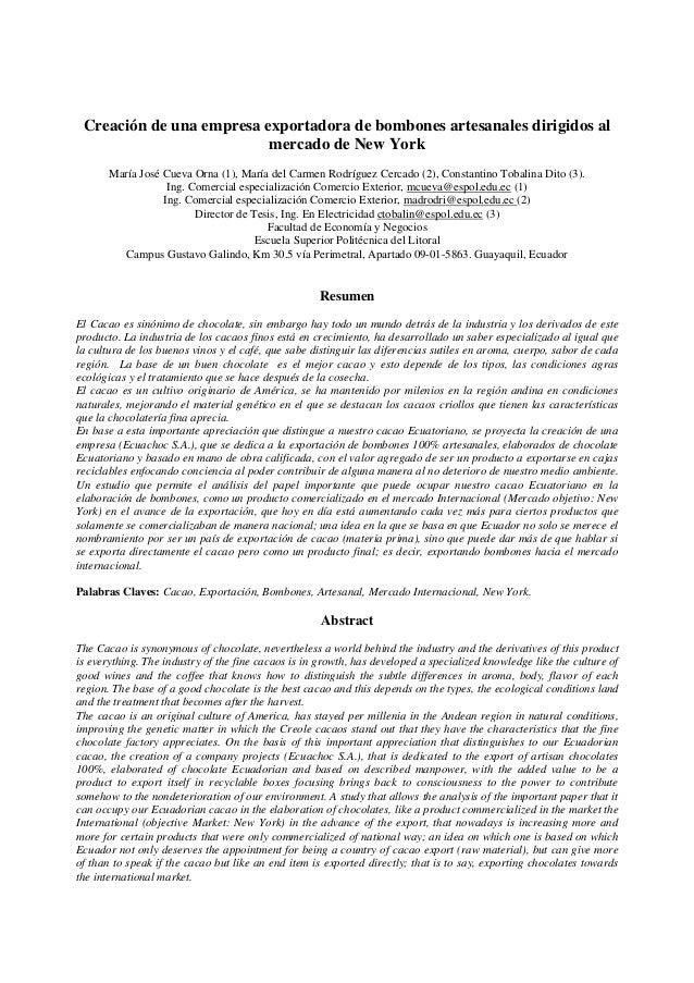 Creación de una empresa exportadora de bombones artesanales dirigidos al mercado de New York  María José Cueva Orna (1), M...