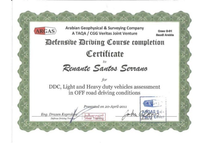 Defensive driving course certificate - Copy - Copy