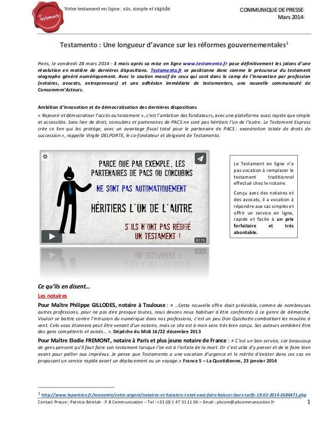 Contact Presse : Patricia Bénitah - P.B Communication – Tel : +33 (0) 1 47 31 11 06 – Email : pbcom@pbcommunication.fr 1 C...
