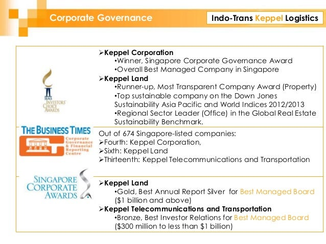 Indo-Trans Keppel LogisticsCorporate Governance Keppel Corporation •Winner, Singapore Corporate Governance Award •Overall...