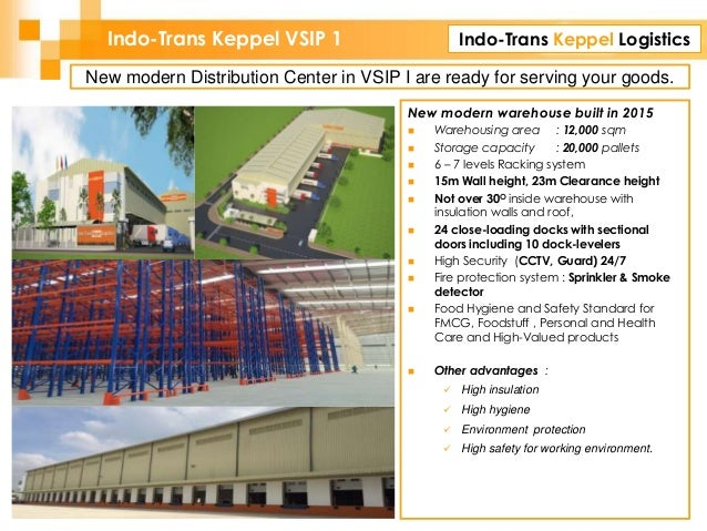 Indo-Trans Keppel Logistics New modern warehouse built in 2015  Warehousing area : 12,000 sqm  Storage capacity : 20,000...