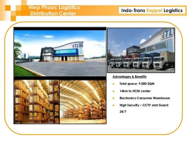 Indo-Trans Keppel Logistics Advantages & Benefits  Total space: 9,000 SQM  14km to HCM center  Electronics Consumer War...