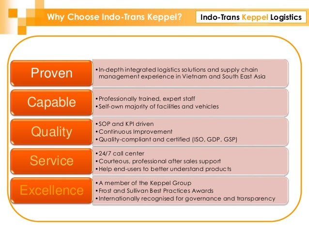 Indo-Trans Keppel LogisticsWhy Choose Indo-Trans Keppel? •In-depth integrated logistics solutions and supply chain managem...