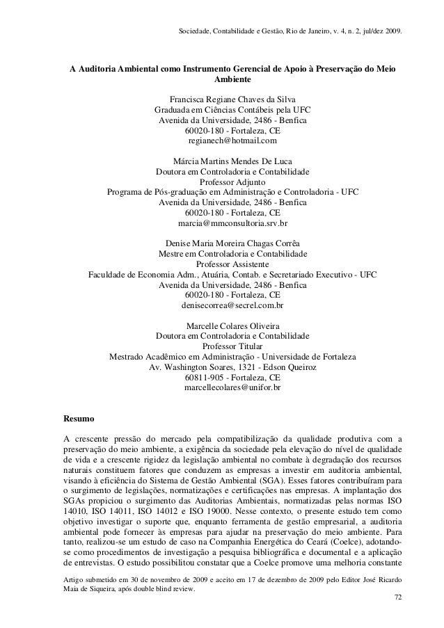 Sociedade, Contabilidade e Gestão, Rio de Janeiro, v. 4, n. 2, jul/dez 2009. Artigo submetido em 30 de novembro de 2009 e ...
