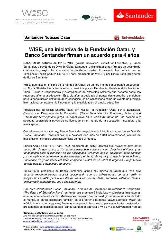 Santander Noticias Qatar  Universidades  WISE, una iniciativa de la Fundación Qatar, y Banco Santander firman un acuerdo p...