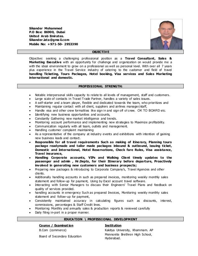 Sikander Mohammed Resume Travel Sales Executive