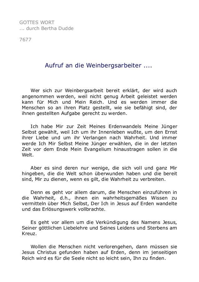 GOTTES WORT ... durch Bertha Dudde 7677 Aufruf an die Weinbergsarbeiter .... Wer sich zur Weinbergsarbeit bereit erklärt, ...