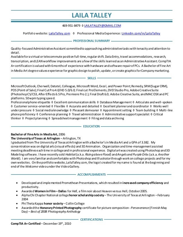 Laila Talley General Summarized Virtual Assistant Resume