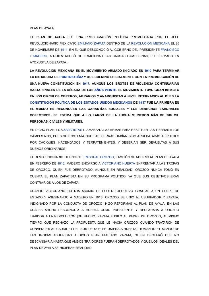 PLAN DE AYALAEL PLAN DE AYALA FUE UNA PROCLAMACIÓN POLÍTICA PROMULGADA POR EL JEFEREVOLUCIONARIO MEXICANO EMILIANO ZAPATA ...