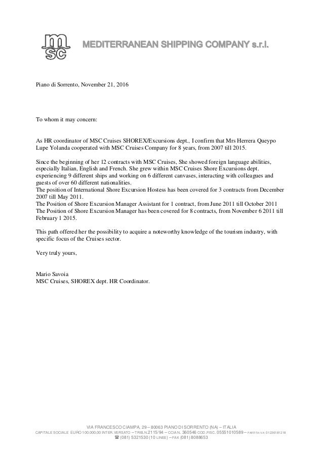 msc recommendation letter