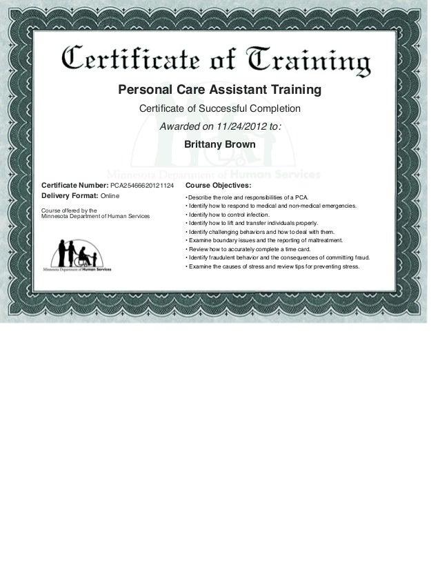 PCA Certificate
