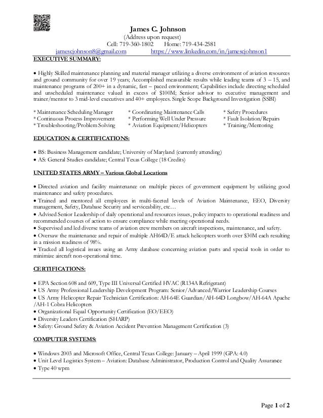 James C. Johnson - Executive Summary Resume