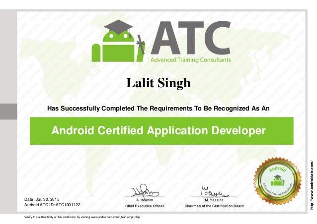 Developer Certificate