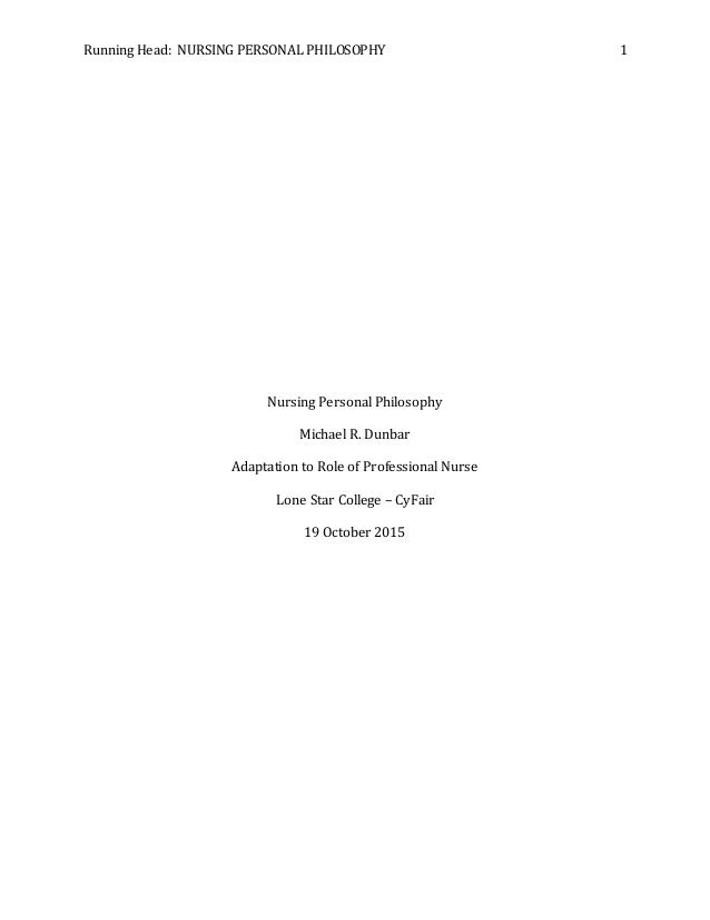 personal nursing philosophy paper examples