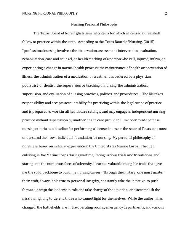 philosophy of nursing essay