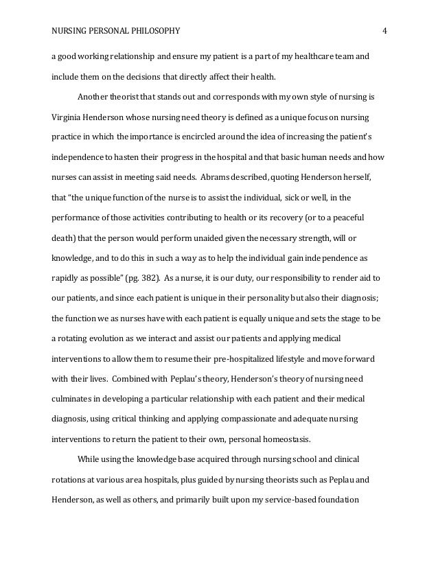 personal nursing philosophy paper  4 nursing personal philosophy