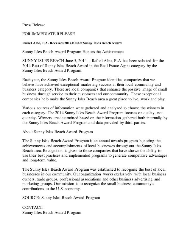PRESS RELEASE Rafael Albo Best 2014 Real Estate Agent in Sunny Isles