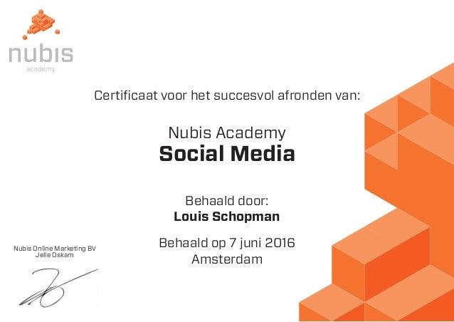 Nubis Online Marketing BV Jelle Oskam Certificaat voor het succesvol afronden van: Nubis Academy Behaald door: Behaald op ...