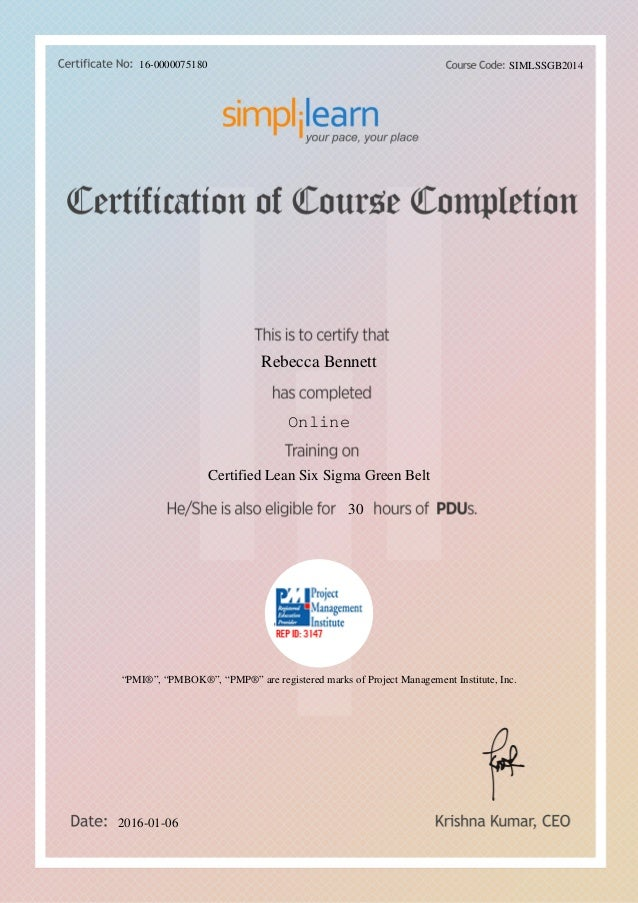 Six Sigma Green Belt 30hrs Pdu Certificate