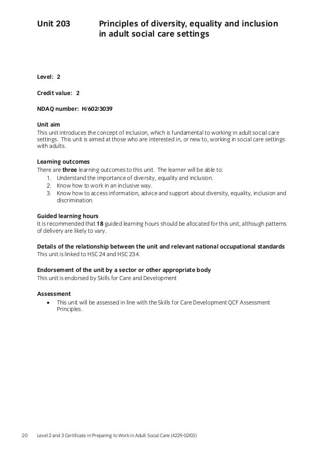 unit 204 equality diversity and Unit 204 equality, diversity and inclusion in work with children and young people assignment name: essay about unit 204 assignment 1 submitted and discrimination.