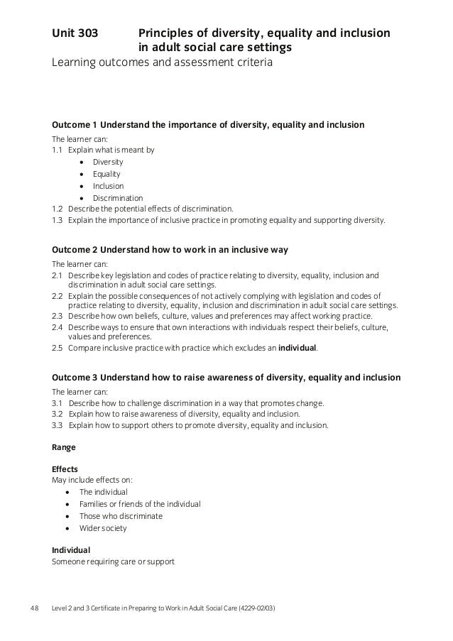 diversity equality and inclusion in adult Title principles of diversity, equality and inclusion in adult social care settings ref 33 level 3 credit value 2 learning outcomes the learner will:.