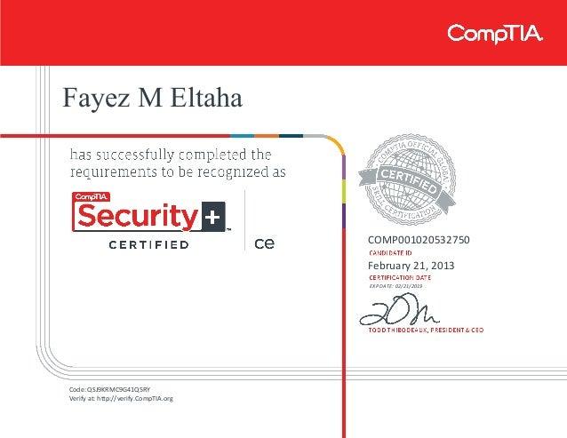 security comptia certificate ce