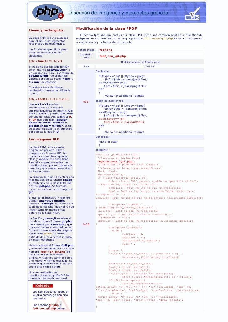 Inserción de imágenes y elementos gráficos   Lineas y rectangulos                                        Modificación de l...
