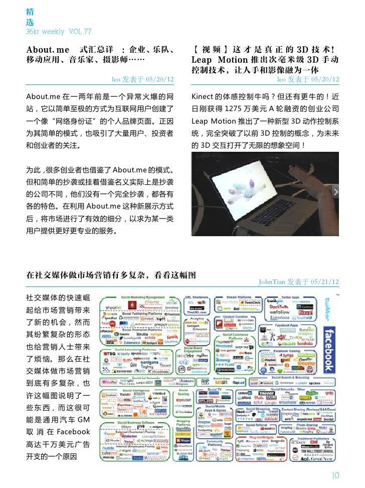 精选36kr weekly VOL 77About.me 模式汇总详解:企业、乐队、                  【 视 频 】 这 才 是 真 正 的 3D 技 术!移动应用、音乐家、摄影师……                     ...
