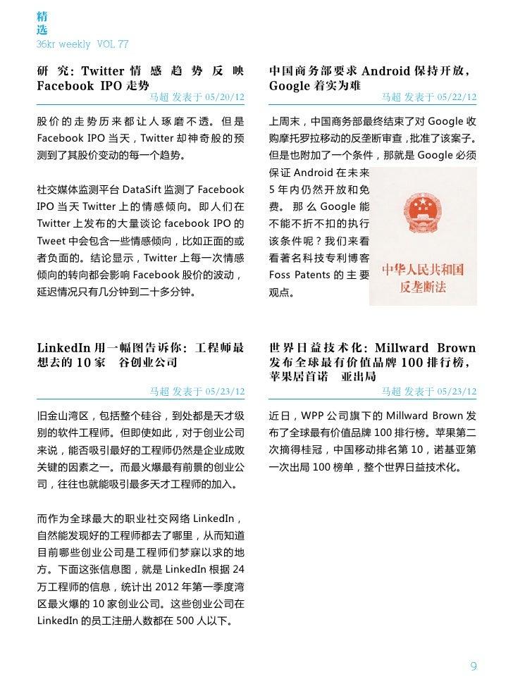 精选36kr weekly VOL 77研 究:Twitter 情 感 趋 势 反 映                中国商务部要求 Android 保持开放,Facebook IPO 走势                        Goo...