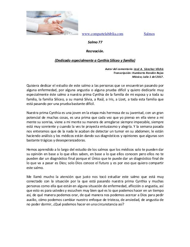 www.compartelabiblia.com Salmos Salmo 77 Recreación. (Dedicado especialmente a Cynthia Siliceo y familia) Autor del coment...